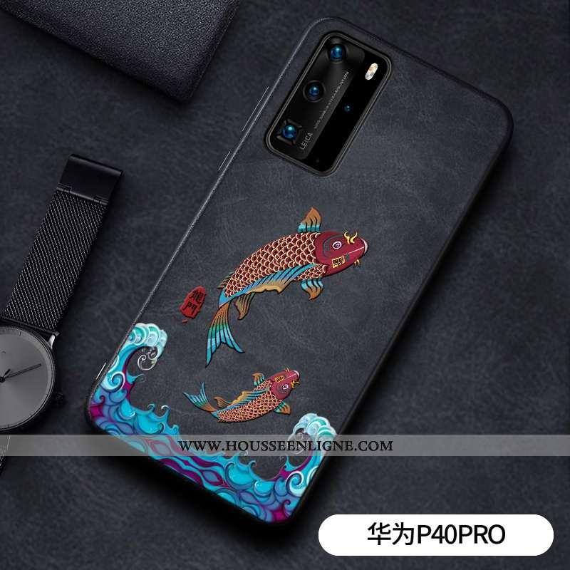 Housse Huawei P40 Pro Gaufrage Cuir Étui Dragon Téléphone Portable Incassable Modèle Fleurie Noir