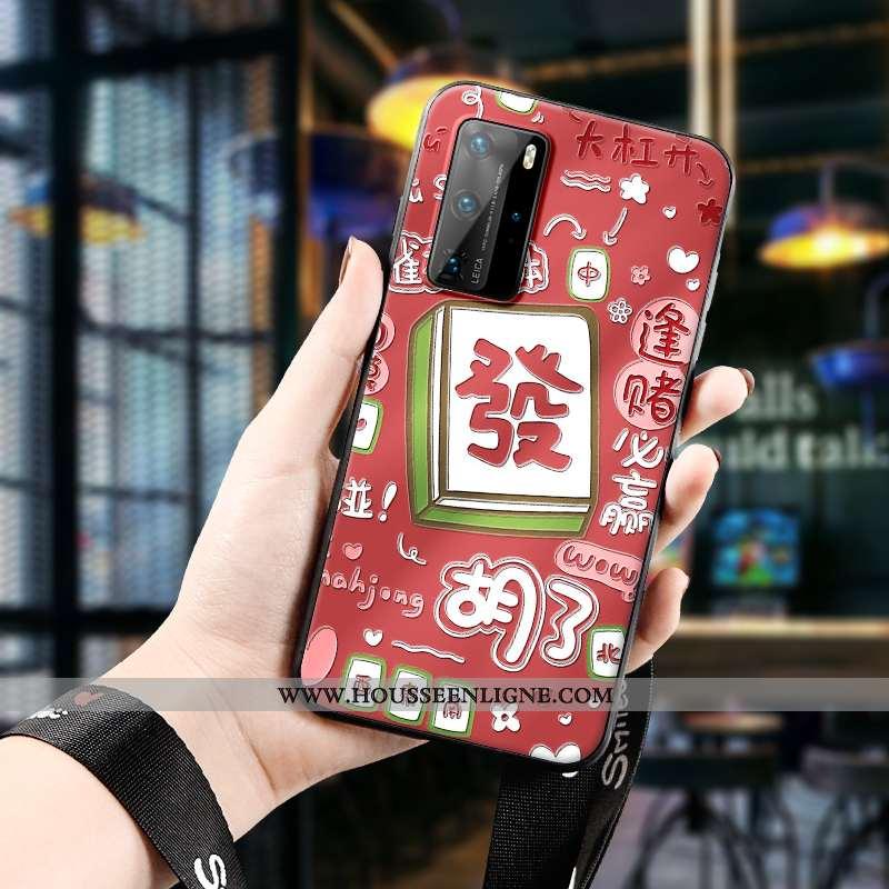 Housse Huawei P40 Pro Gaufrage Dessin Animé Fluide Doux Étui Téléphone Portable Chanceux Protection