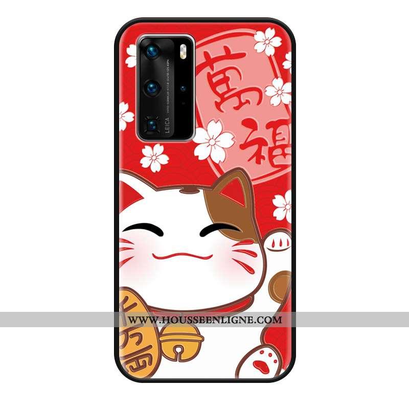 Housse Huawei P40 Pro Gaufrage Dessin Animé Protection Richesse Ornements Suspendus Étui Coque Rouge