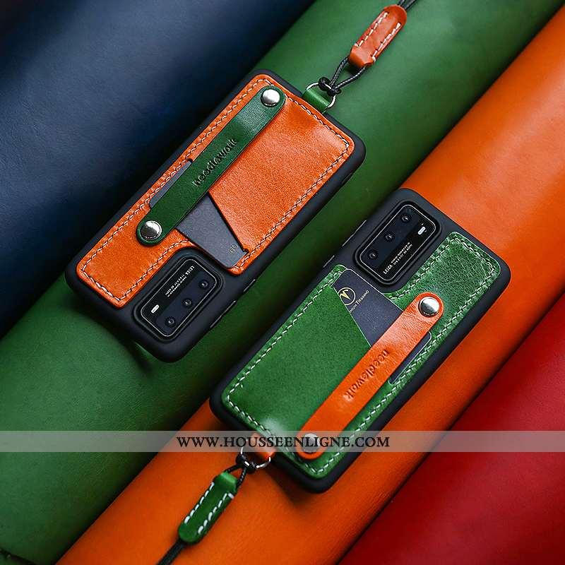 Housse Huawei P40 Pro Ornements Suspendus Cuir Véritable Vert Téléphone Portable Tout Compris Coque