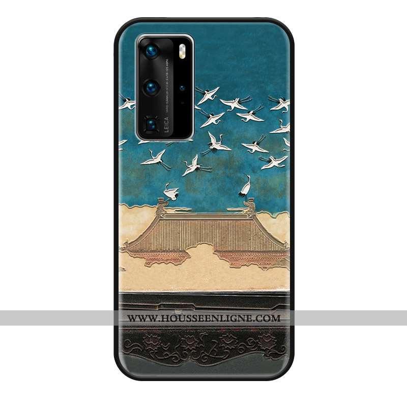 Housse Huawei P40 Pro Protection Gaufrage Téléphone Portable Coque Bleu Mode Silicone