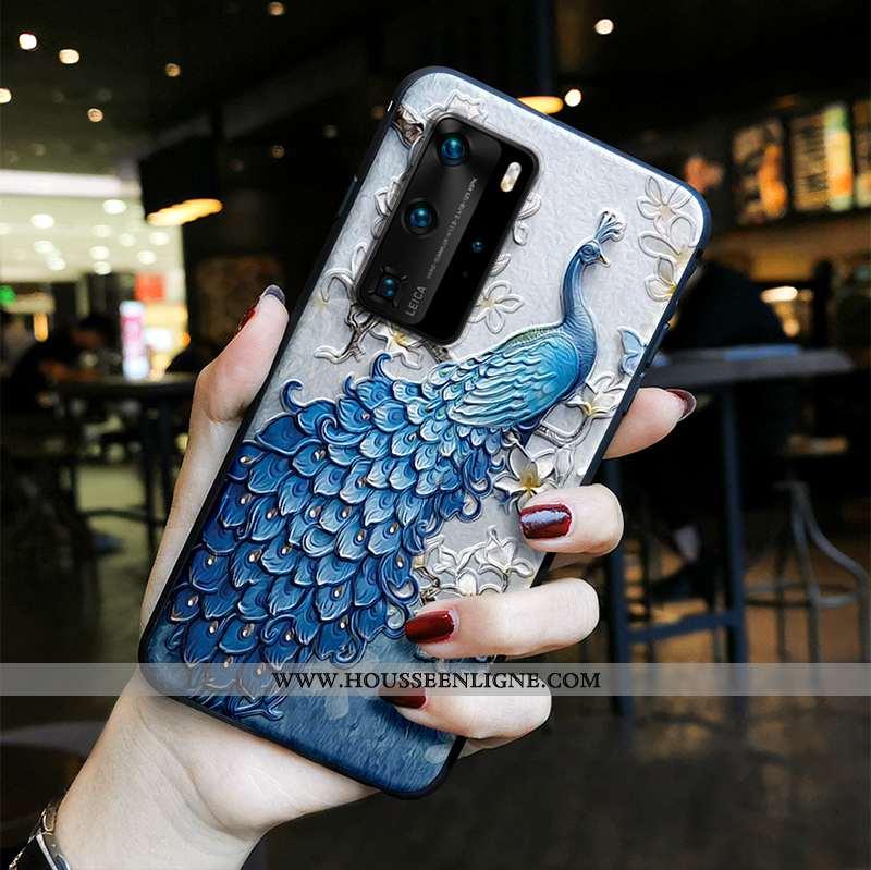 Housse Huawei P40 Pro Tendance Fluide Doux Vent Protection Paon Peinture Silicone Bleu