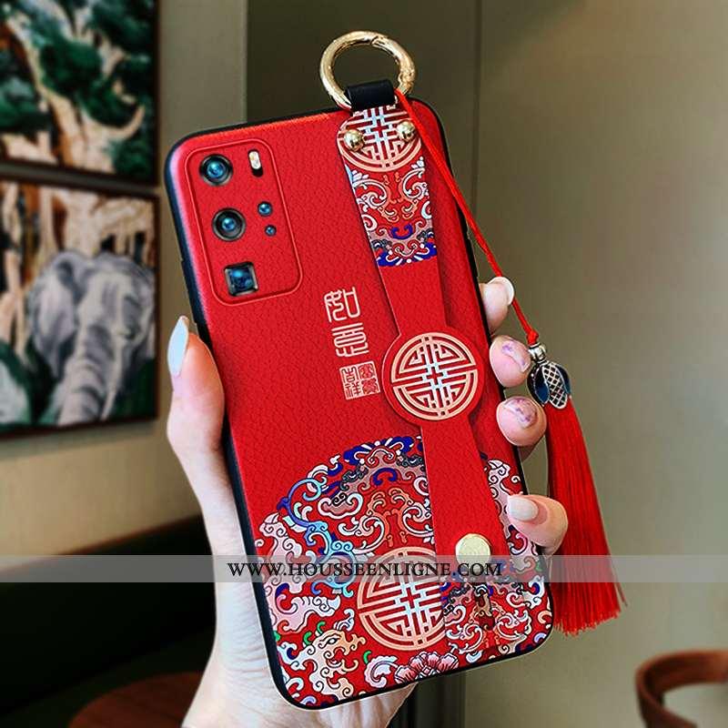 Housse Huawei P40 Pro Tendance Légère Net Rouge Protection Étui Coque Style Chinois