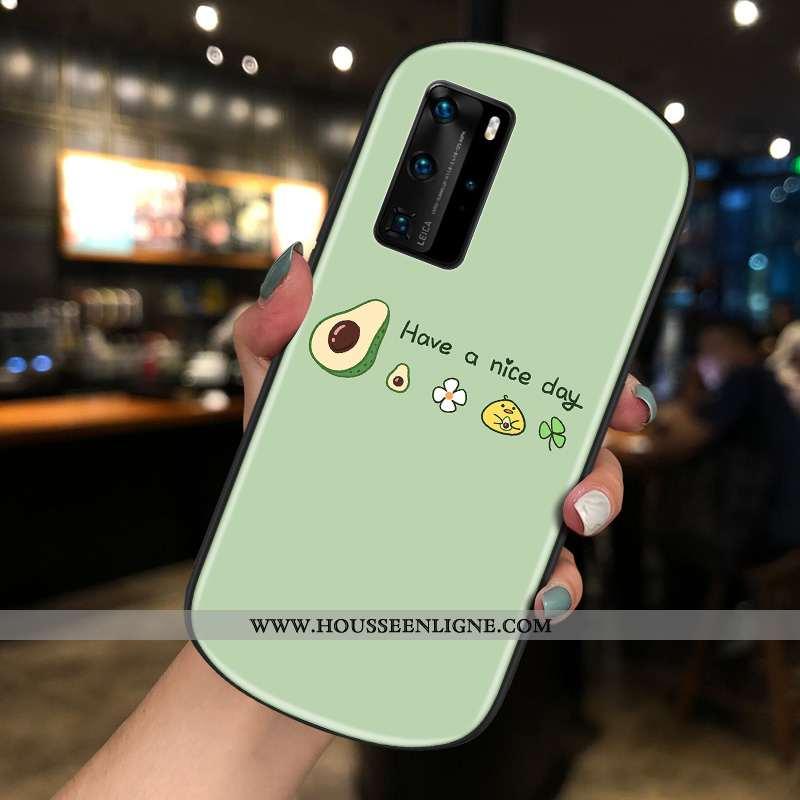 Housse Huawei P40 Pro Tendance Verre Personnalité Coque Bovins Rond Créatif Verte