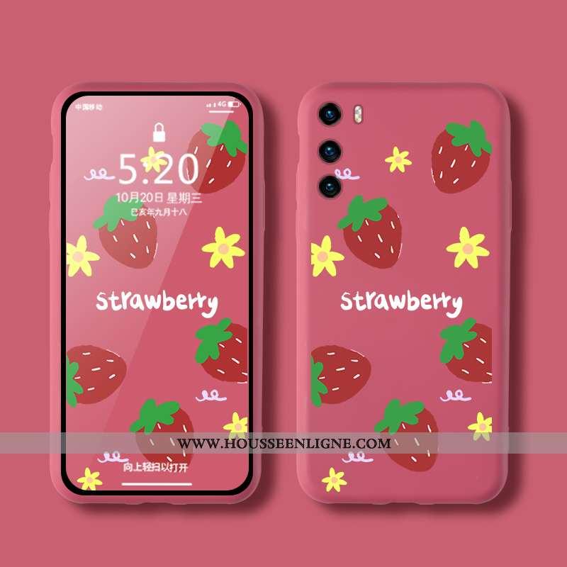 Housse Huawei P40 Silicone Mode Rouge Téléphone Portable Coque Tendance Créatif