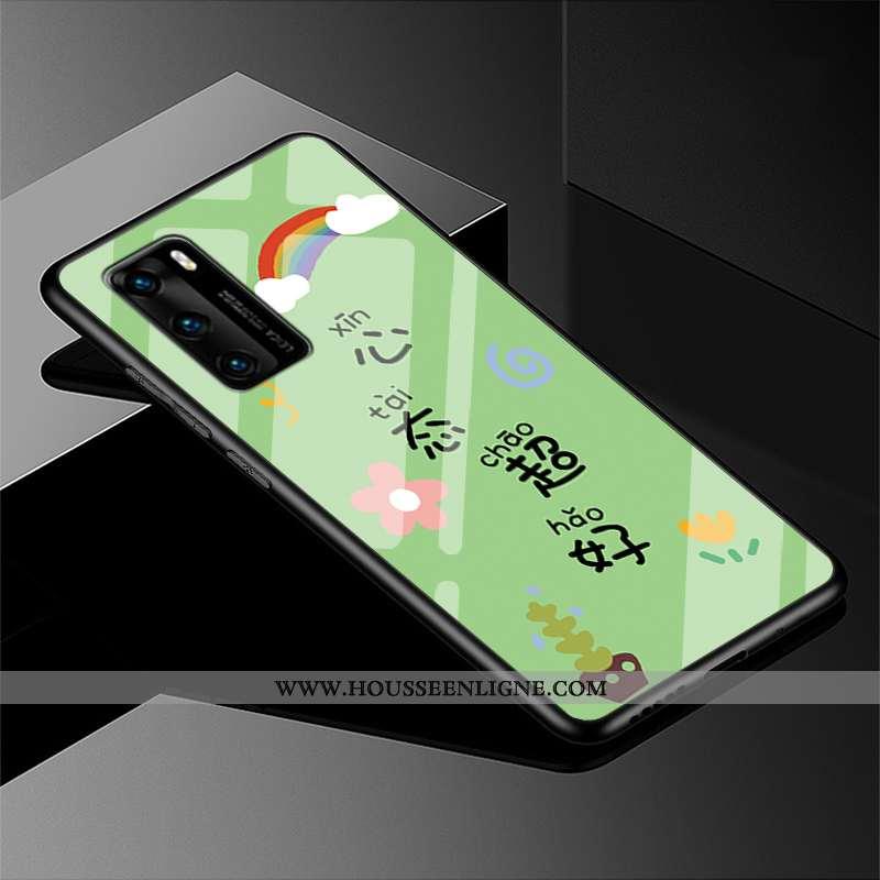 Housse Huawei P40 Verre Créatif Étui Simple Incassable Tout Compris Nouveau Verte