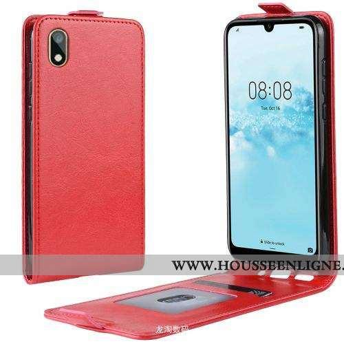 Housse Huawei Y5 2020 Cuir Rouge Incassable Coque Clamshell 2020 Étui