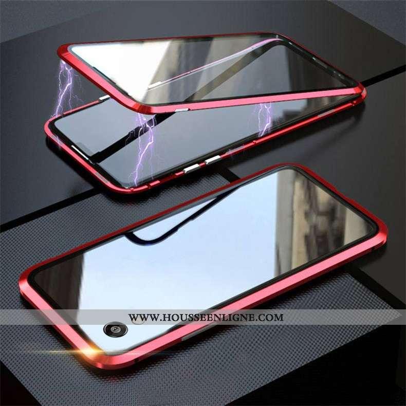 Housse Huawei Y5 2020 Protection Verre Simple Difficile Coque Magnétisme Rouge