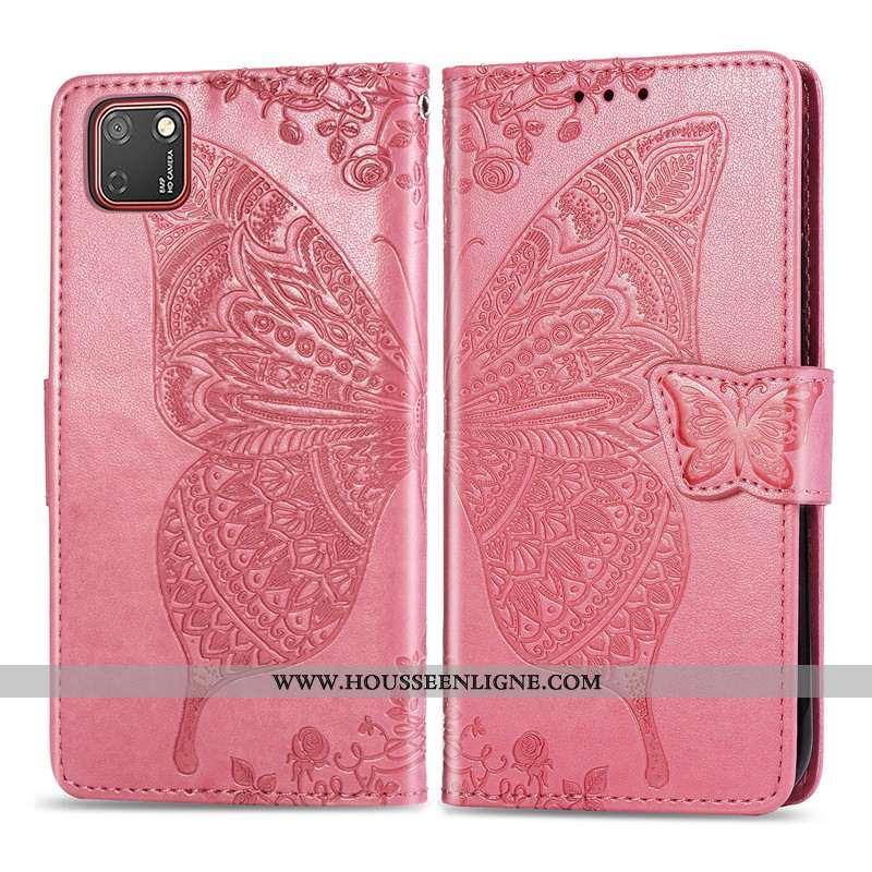 Housse Huawei Y5p Charmant Cuir Téléphone Portable Coque Rose Papillon Ornements Suspendus