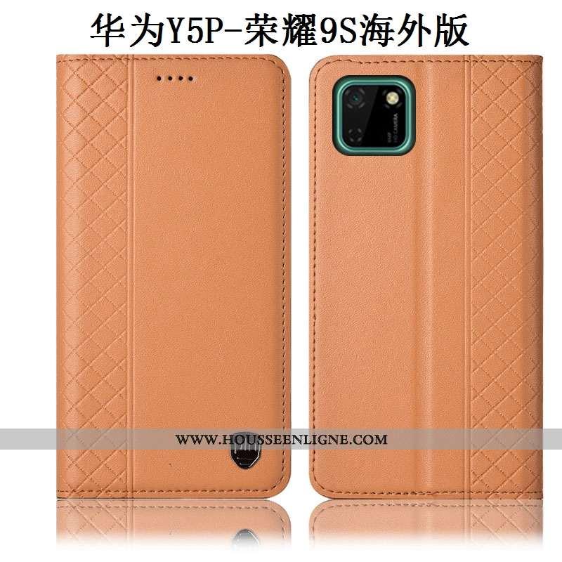 Housse Huawei Y5p Cuir Véritable Protection Coque Jaune Téléphone Portable Incassable