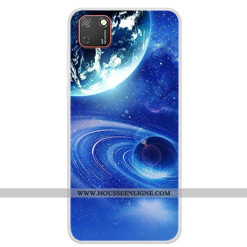 Housse Huawei Y5p Fluide Doux Protection Tendance Coque Étui Téléphone Portable Bleu