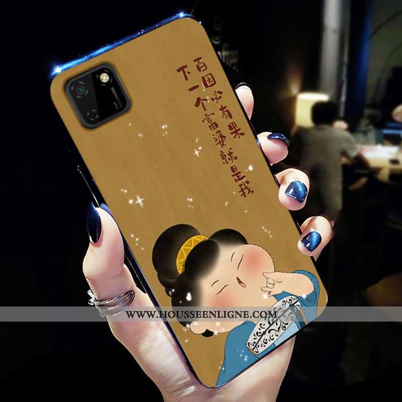Housse Huawei Y5p Mode Protection Délavé En Daim Jaune Petit Téléphone Portable Net Rouge