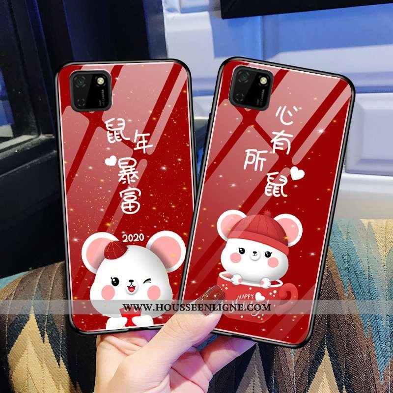 Housse Huawei Y5p Protection Verre Fluide Doux Légère Téléphone Portable Rouge Tout Compris