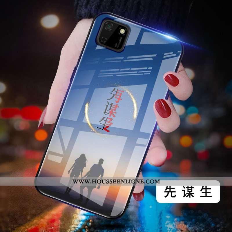 Housse Huawei Y5p Protection Verre Net Rouge Miroir Difficile Peinture Coque Bleu