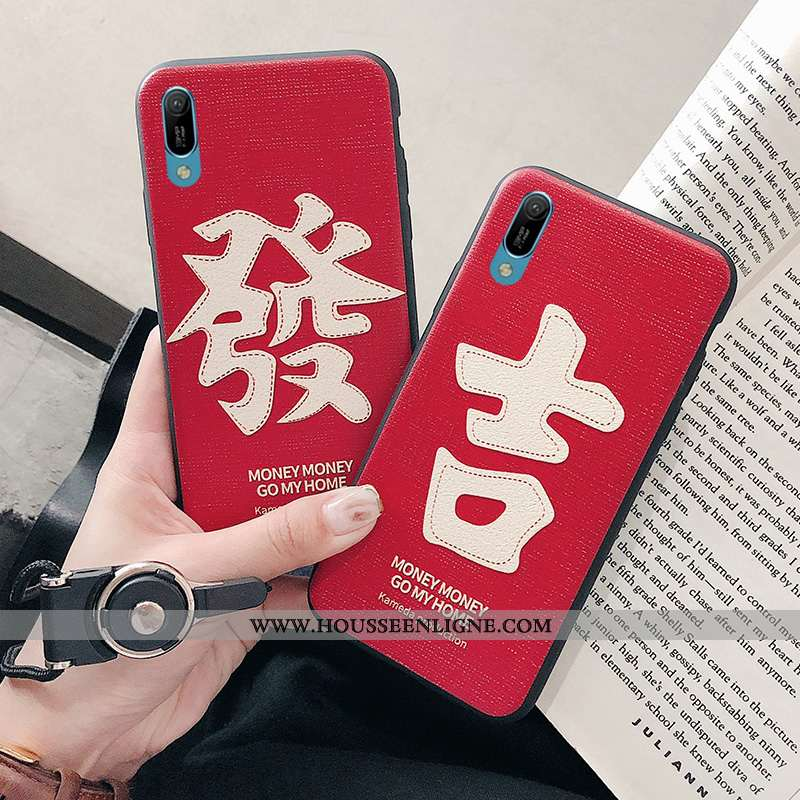 Housse Huawei Y6 2020 Gaufrage Fluide Doux Étui 2020 Rouge Silicone Coque