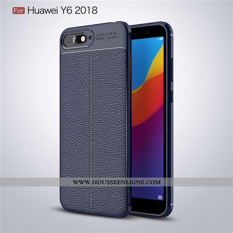 Housse Huawei Y6 2020 Tendance Cuir Bleu Marin Étui Incassable Coque Silicone Bleu Foncé