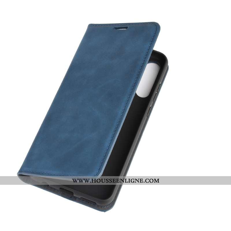 Housse Huawei Y6p Cuir Protection Étui Coque Téléphone Portable Clamshell Bleu