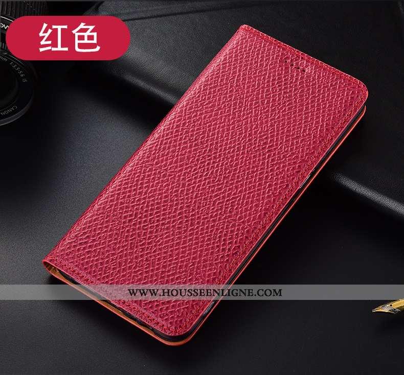 Housse Huawei Y6p Cuir Véritable Modèle Fleurie Protection Étui Incassable Coque Rouge