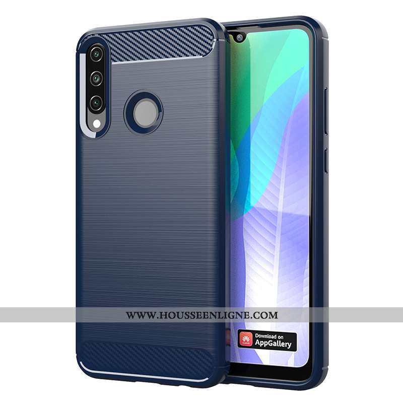 Housse Huawei Y6p Fluide Doux Protection Couleur Unie Modèle Fleurie Étui Téléphone Portable Bleu
