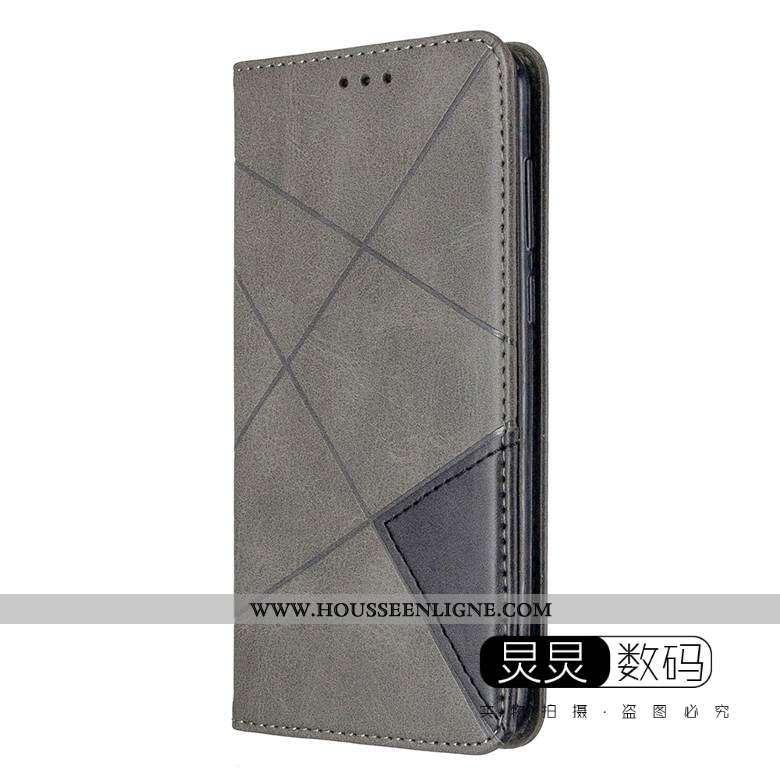 Housse Huawei Y6p Protection Cuir Gris Clamshell Coque Téléphone Portable Étui