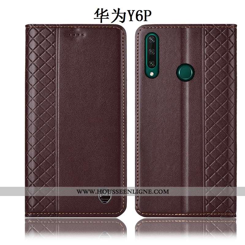 Housse Huawei Y6p Protection Cuir Véritable Coque Téléphone Portable Incassable Marron