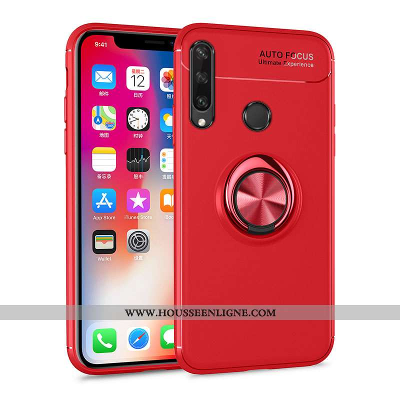 Housse Huawei Y6p Protection Fluide Doux Anneau Rouge Simple Support Invisible