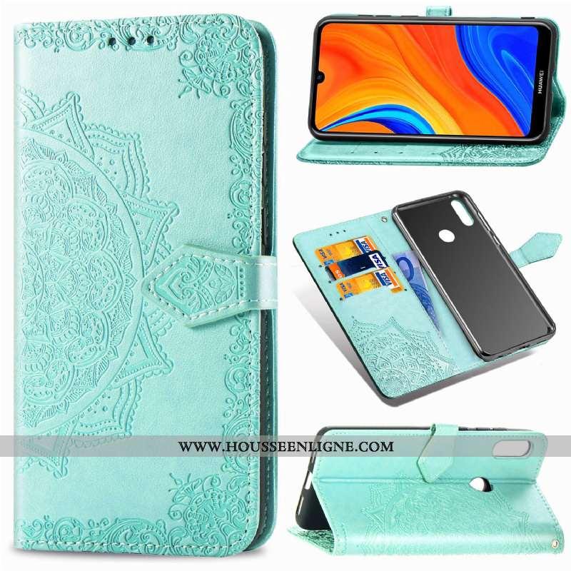 Housse Huawei Y6s Créatif Cuir Étui Tout Compris Vert Téléphone Portable Clamshell Verte