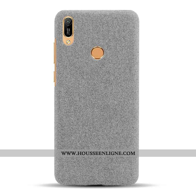 Housse Huawei Y6s Délavé En Daim Modèle Fleurie Incassable Difficile Tissu Téléphone Portable Étui G