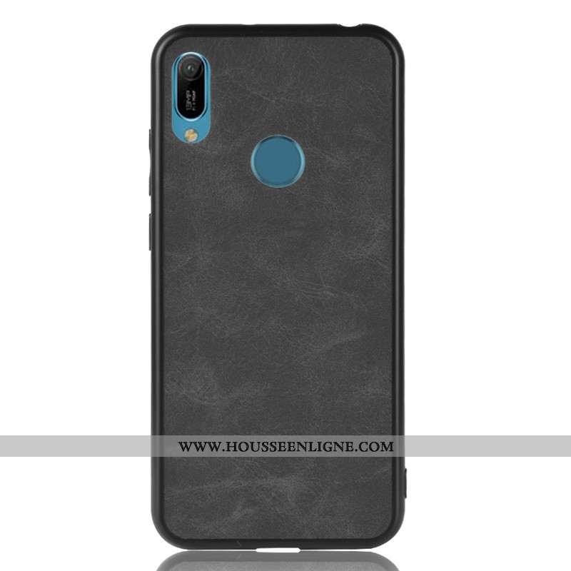 Housse Huawei Y6s Tendance Cuir Incassable Noir Étui Protection Téléphone Portable
