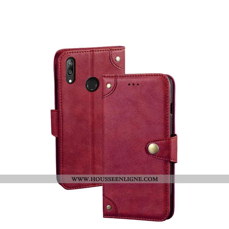 Housse Huawei Y7 2020 Créatif Portefeuille Cuir 2020 Protection Téléphone Portable Rouge