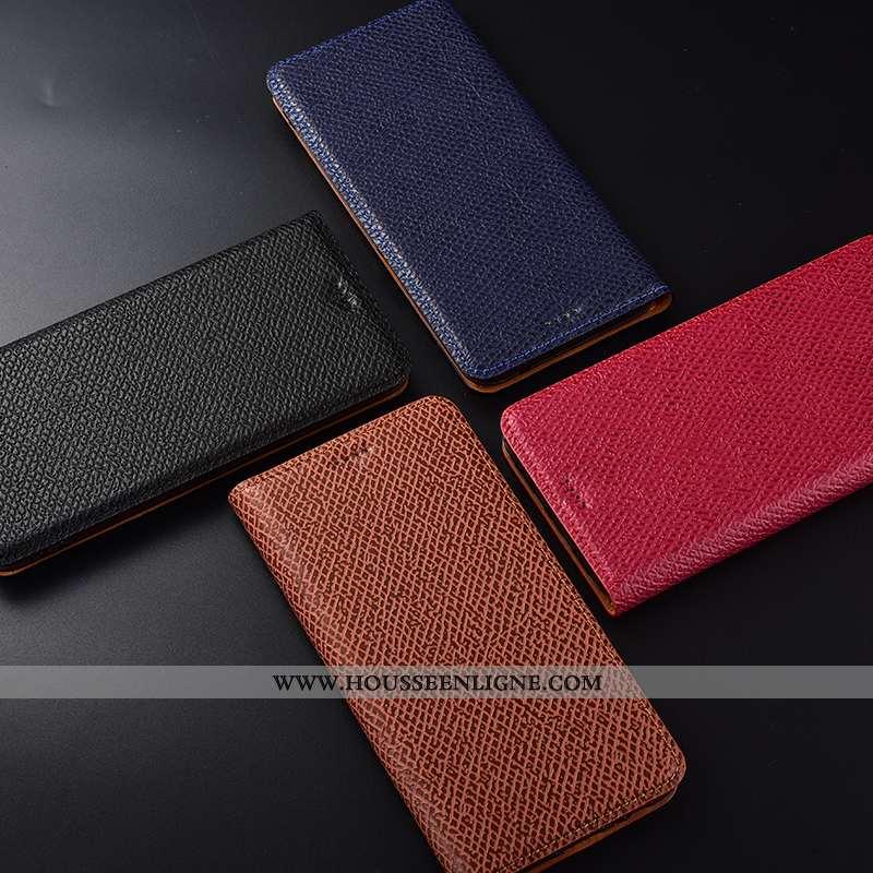Housse Huawei Y7 2020 Cuir Véritable Modèle Fleurie Coque Protection Étui Incassable Mesh Rouge