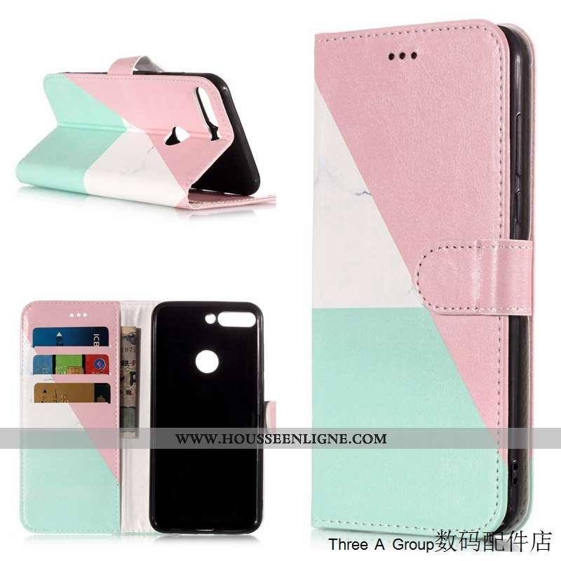 Housse Huawei Y7 2020 Dessin Animé Cuir Protection 2020 Téléphone Portable Rose