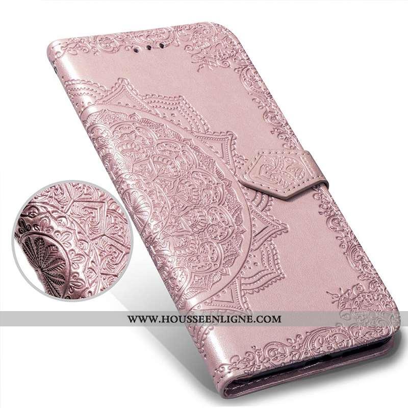 Housse Huawei Y7 2020 Gaufrage Portefeuille Carte Rose 2020 Incassable Téléphone Portable