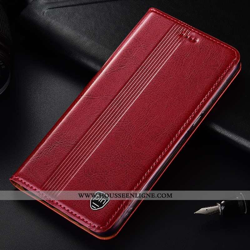 Housse Huawei Y7 2020 Protection Cuir Véritable Coque Tout Compris Incassable Rouge Modèle Fleurie