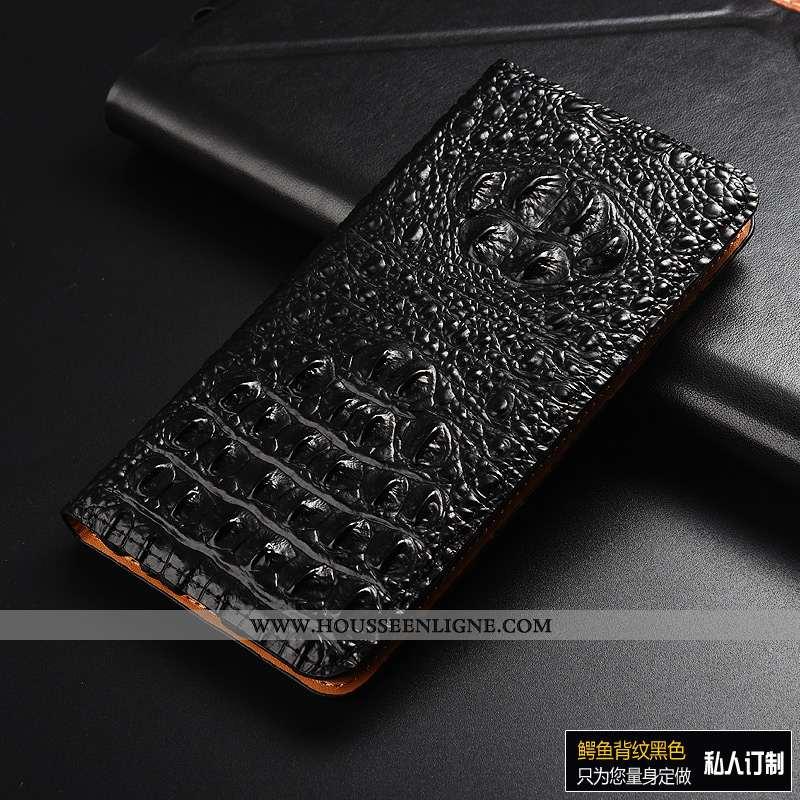 Housse Huawei Y7 2020 Protection Cuir Véritable Incassable Cuir Noir Étui Coque