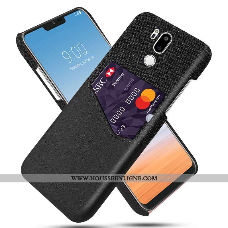 Housse Lg G7 Thinq Personnalité Cuir Tissu Protection Étui Carte Téléphone Portable Noir