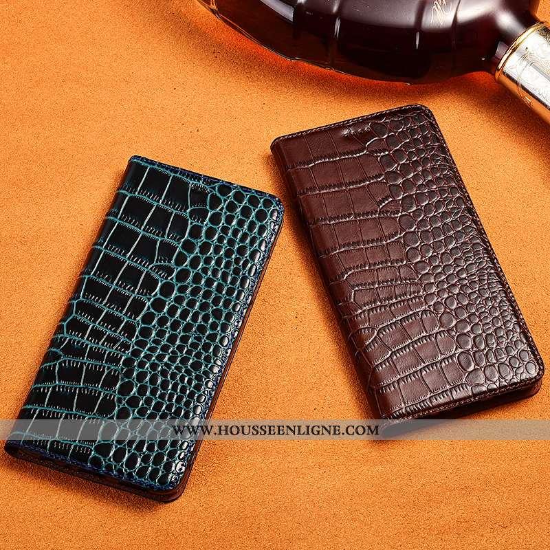 Housse Lg G7 Thinq Protection Cuir Véritable Nouveau Téléphone Portable Bleu Crocodile Tout Compris