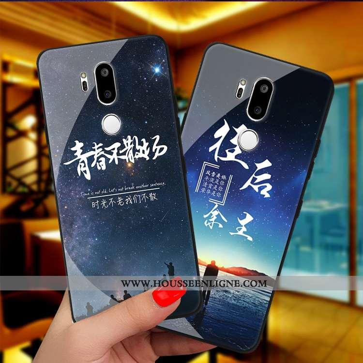 Housse Lg G7 Thinq Protection Verre Personnalité Étui Bleu Marin Téléphone Portable Coque Bleu Foncé