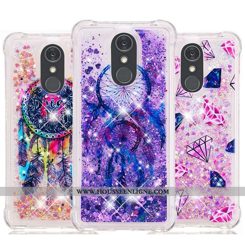 Housse Lg Q Stylus Fluide Doux Dessin Animé Violet Téléphone Portable Étui Quicksand Pu