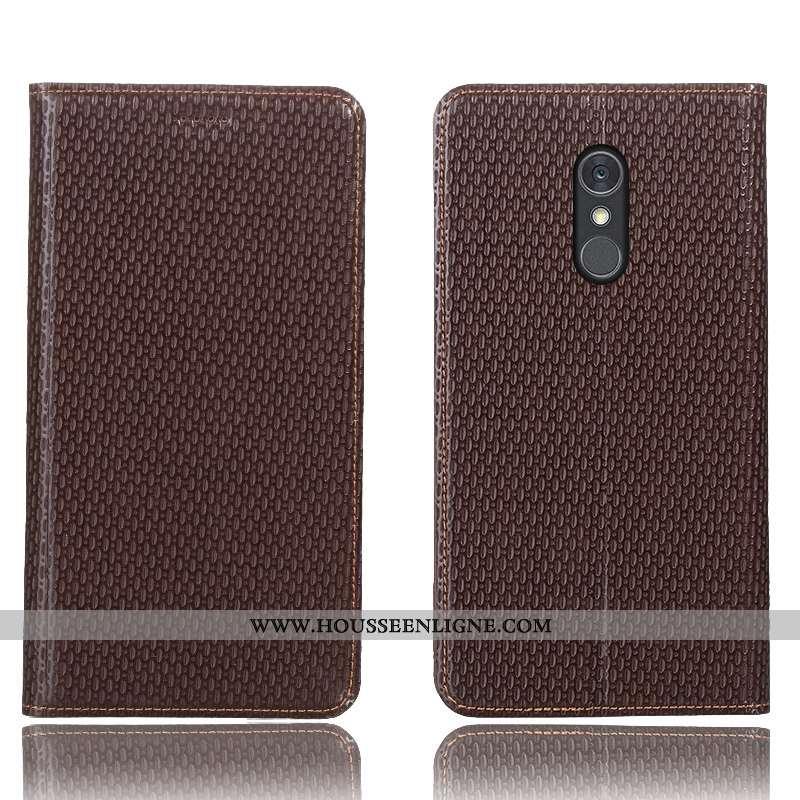 Housse Lg Q Stylus Modèle Fleurie Protection Coque Cuir Véritable Marron Téléphone Portable