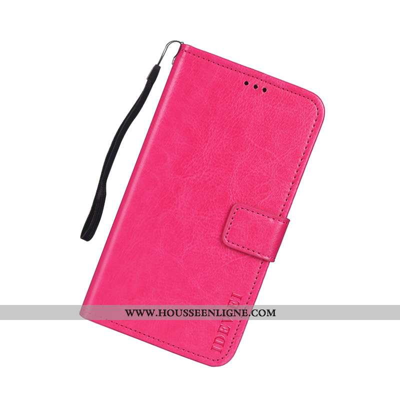 Housse Lg Q Stylus Portefeuille Cuir Carte Rouge Support Protection Rose