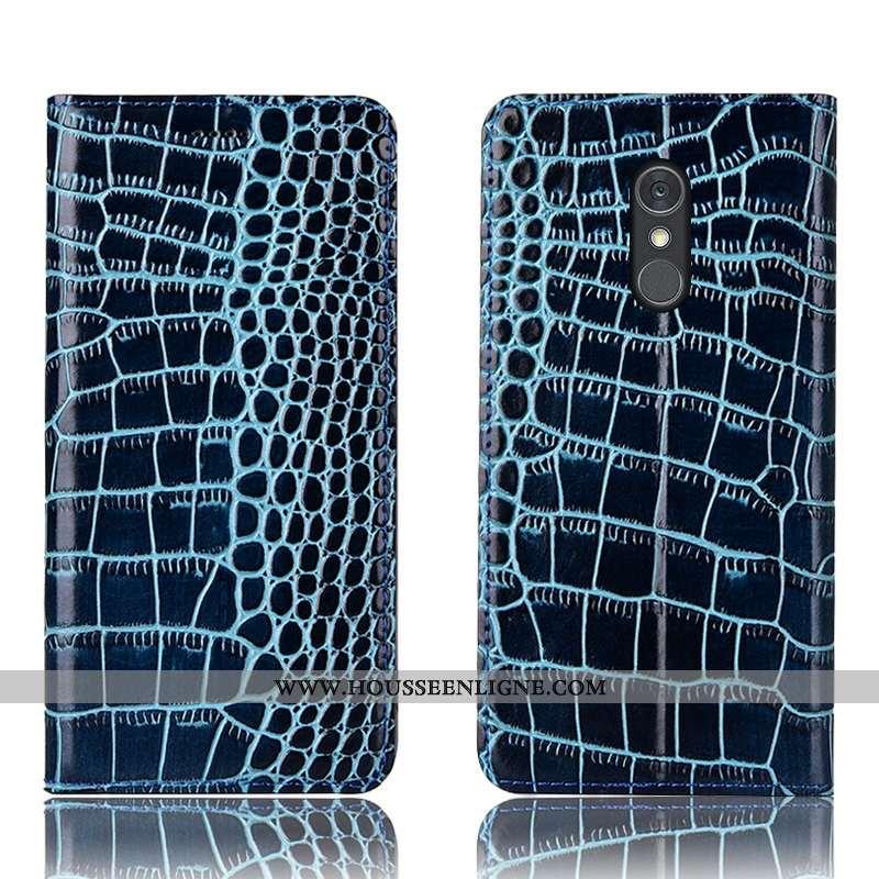 Housse Lg Q Stylus Protection Cuir Véritable Étui Bleu Incassable Téléphone Portable Coque