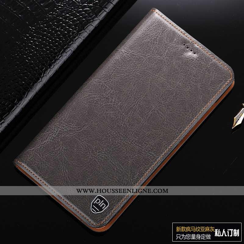 Housse Lg Q7 Protection Cuir Véritable Téléphone Portable Étui Nouveau Gris Tout Compris