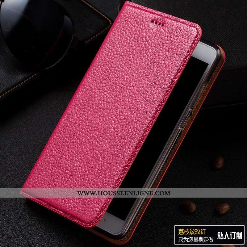 Housse Lg Q7 Protection Cuir Véritable Téléphone Portable Litchi Tout Compris Rouge Incassable Rose