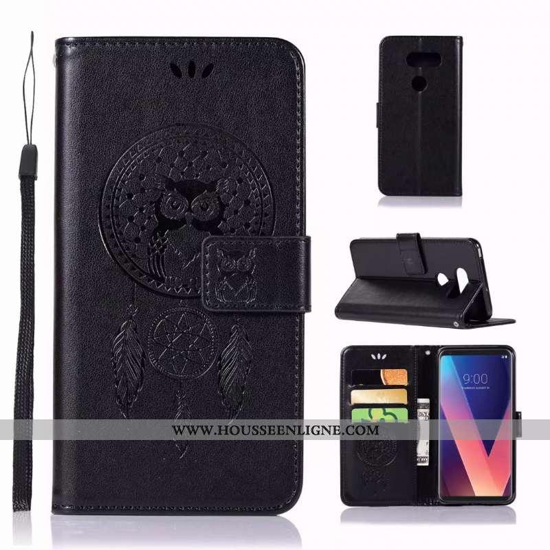 Housse Lg V30 Cuir Coque En Silicone Téléphone Portable Étui Carte Noir