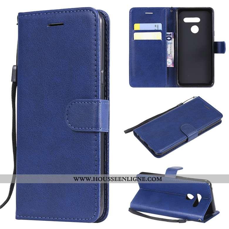 Housse Lg V30 Cuir Protection Coque Téléphone Portable Bleu Couleur Unie
