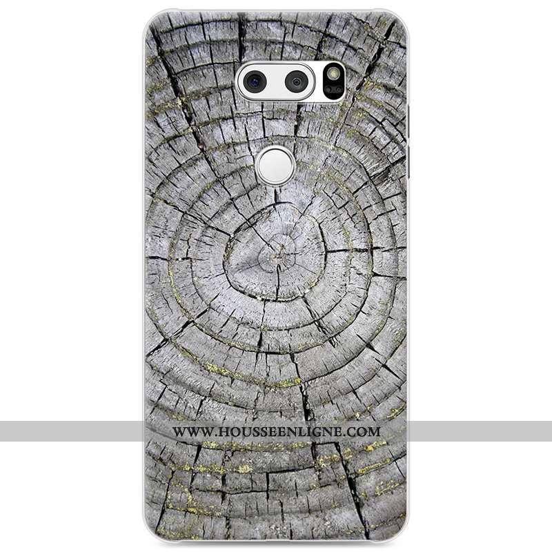 Housse Lg V30 Protection Personnalité Téléphone Portable Difficile En Bois Gris Peinture