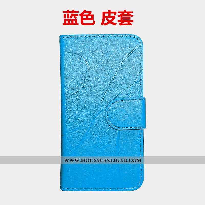 Housse Moto G7 Fluide Doux Protection Coque Cuir Bleu Étui Téléphone Portable