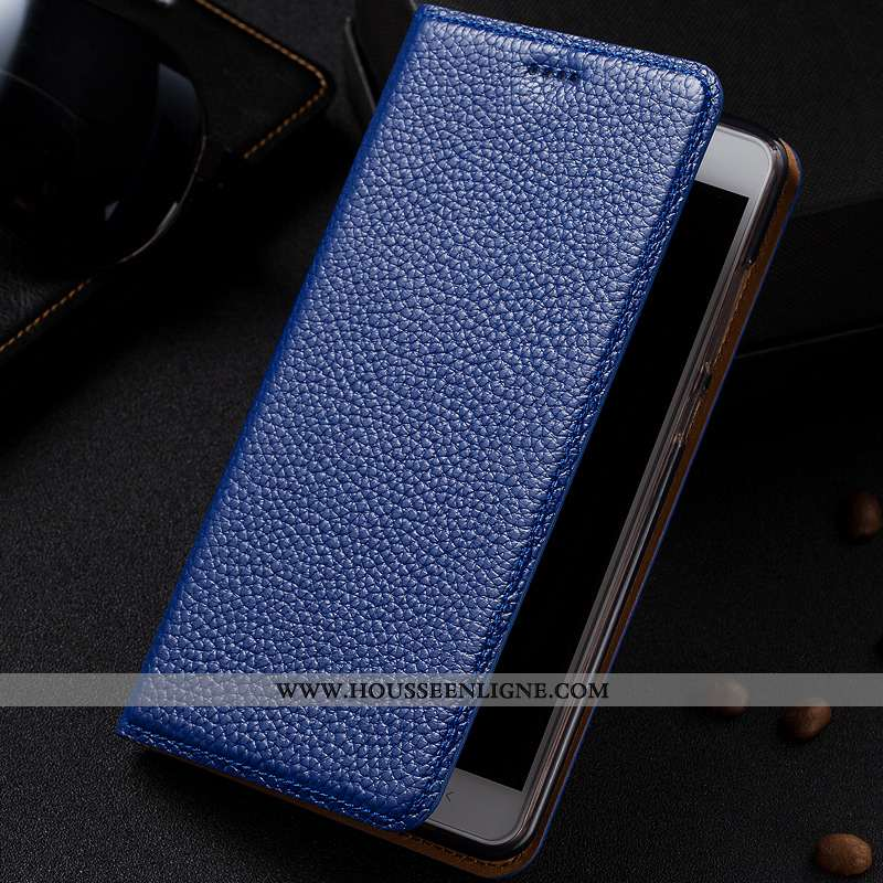 Housse Moto G7 Modèle Fleurie Protection Étui Bleu Marin Téléphone Portable Litchi Cuir Véritable Bl