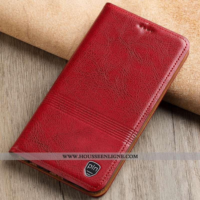 Housse Moto G7 Modèle Fleurie Protection Cuir Véritable Rouge Téléphone Portable Étui Coque